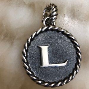 "Authentic  David Yurman round Initial ""L"" enhancer"
